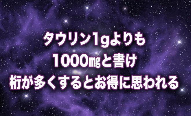 タウリン1Gよりも1000MGと書け。桁が多くするとお得に思われる。